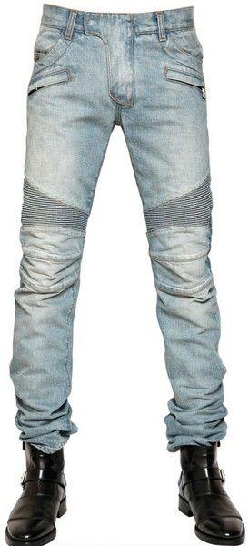 7df0d353 Balmain 18cm Washed Denim Biker Jeans in Blue for Men (light blue) - Lyst