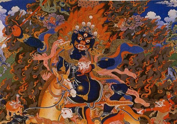 Palden Lhamo, représentée avec tout ses attributs