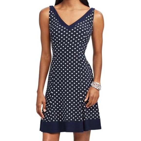 27++ Chaps polka dot fit and flare dress trends