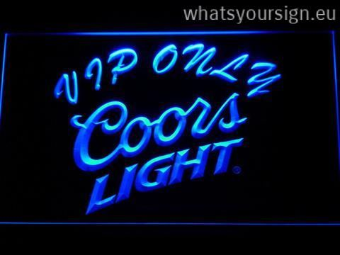 Coors Light VIP Only - LED neon sign made of the highest quality clear plastic and briliant colorful LED illumination. The neon sign looks exactly the same from all angles thanks to the carving with the newest 3D laser engraving technology. This LED neon sign is a great gift idea! The neon is provided with a metal chain for displaying. Available in 3 sizes in following colours: White, Blue, Orange, Red, Purple, Green and Yellow!