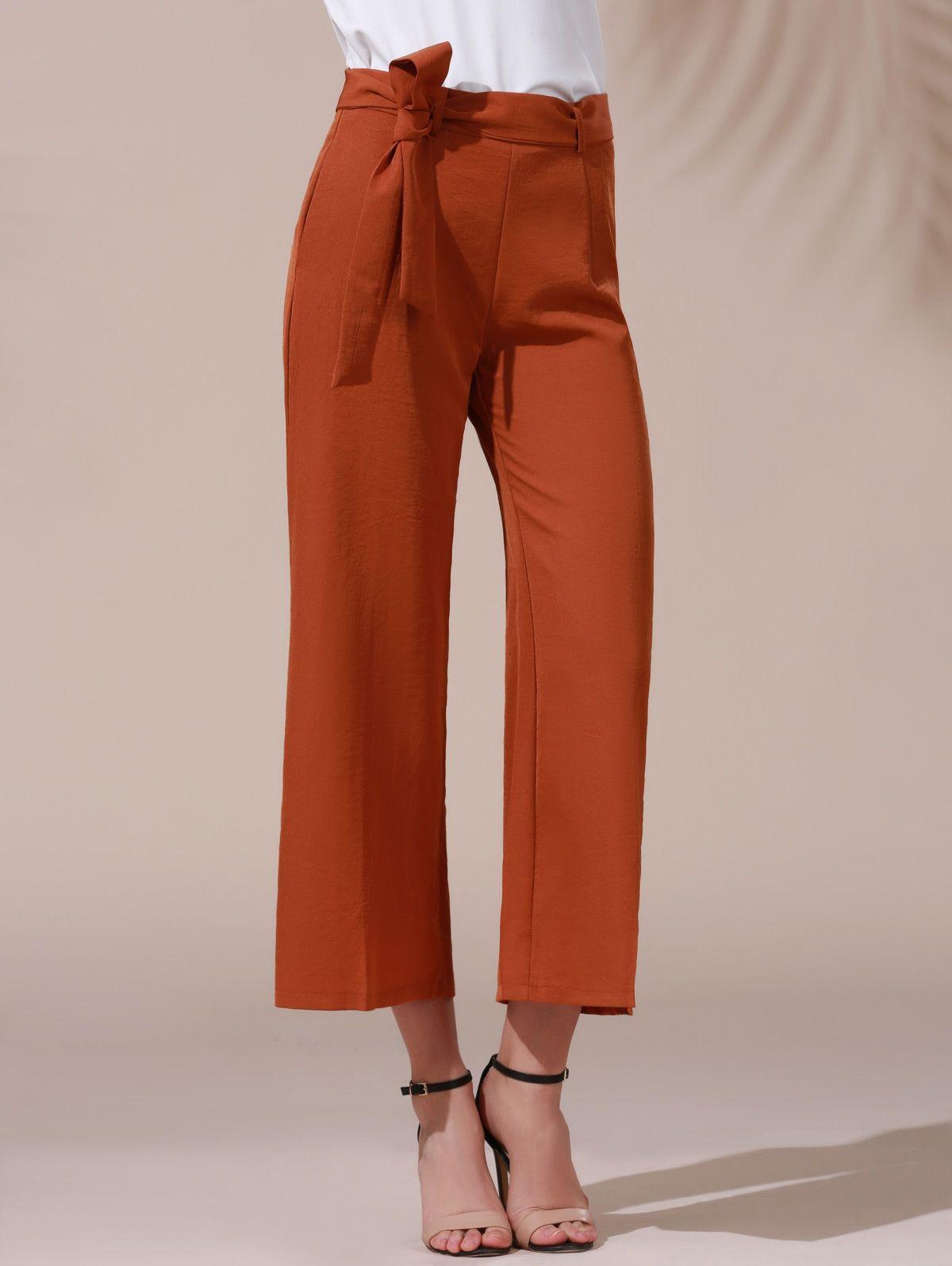 d5b7869c507a Solid Color Belted High Waist Wide Leg Pant DARK KHAKI  Pants