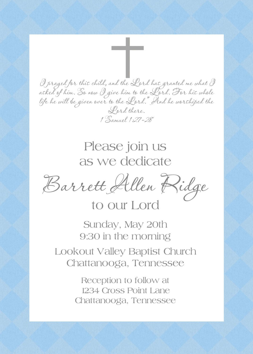 baby's dedication invitation | DIY Invitations | Pinterest | The o ...