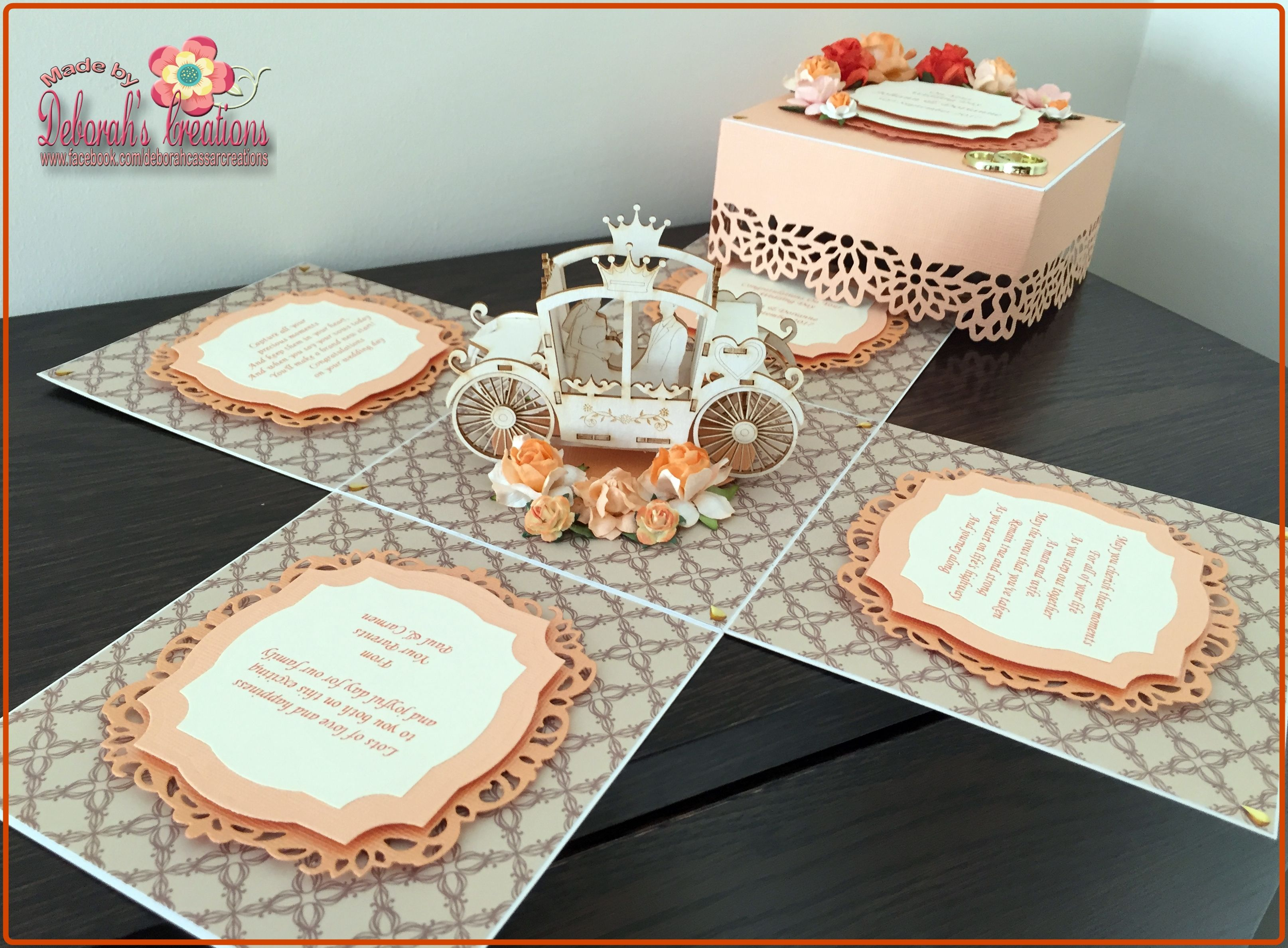 Neutral & Peach Wedding Theme with carriage Exploding Box Card ...