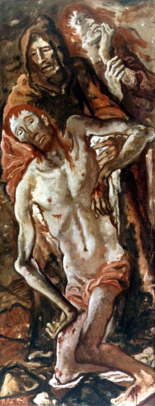434. Carena, Felice - 1955 - Pietà (e due figure pietose) - Vittorio Veneto, Galleria Civica d'Arte