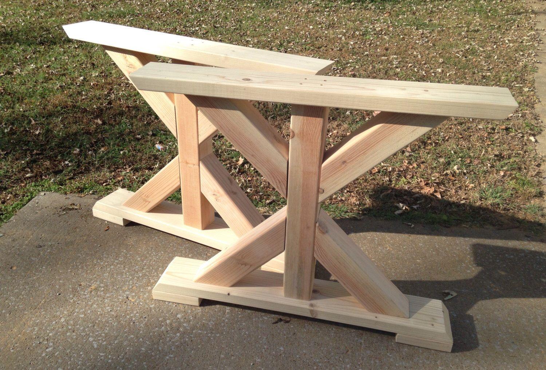 Farmhouse Trestle Table Legs, XFrame Table Legs, Wood