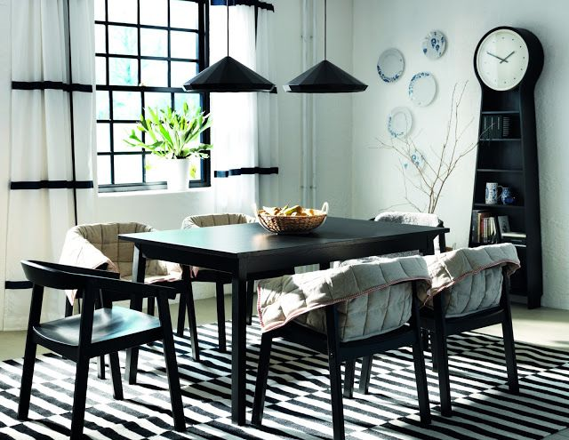Black and white and blue dining room