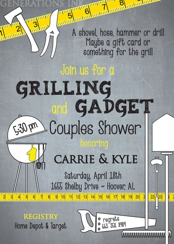 Grilling And Gadget Tool Couples Shower Invitation Digital File Printable Wording Can Be Changed Couple Shower Couples Shower Invitations Honey Do Shower