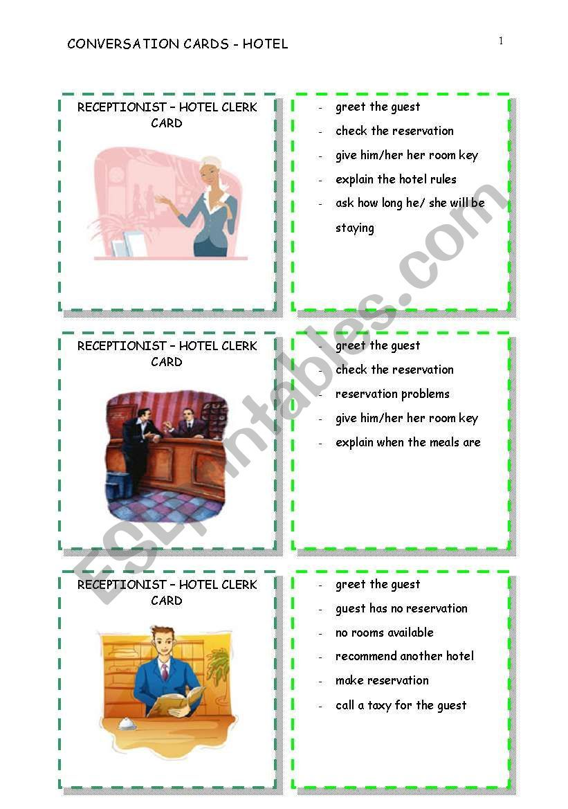 Match Guest Cards With Hotel Clerk Cards To Do A Hotel Role Play With Your Students Hotel Hotelcards Cards Conversation Cards Hotel Card Cards