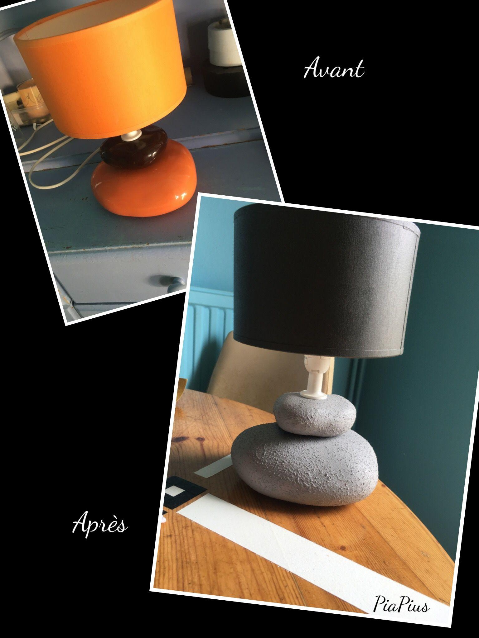 Lampe Effet Beton Diy Lampe Orange Peinte Avec La Peinture Effet Ciment Action Et Abat Repeint En Gris Fonce Lamp Deco Recup