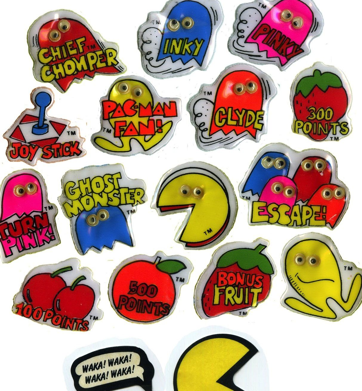 Pac Man Puffy Stickers