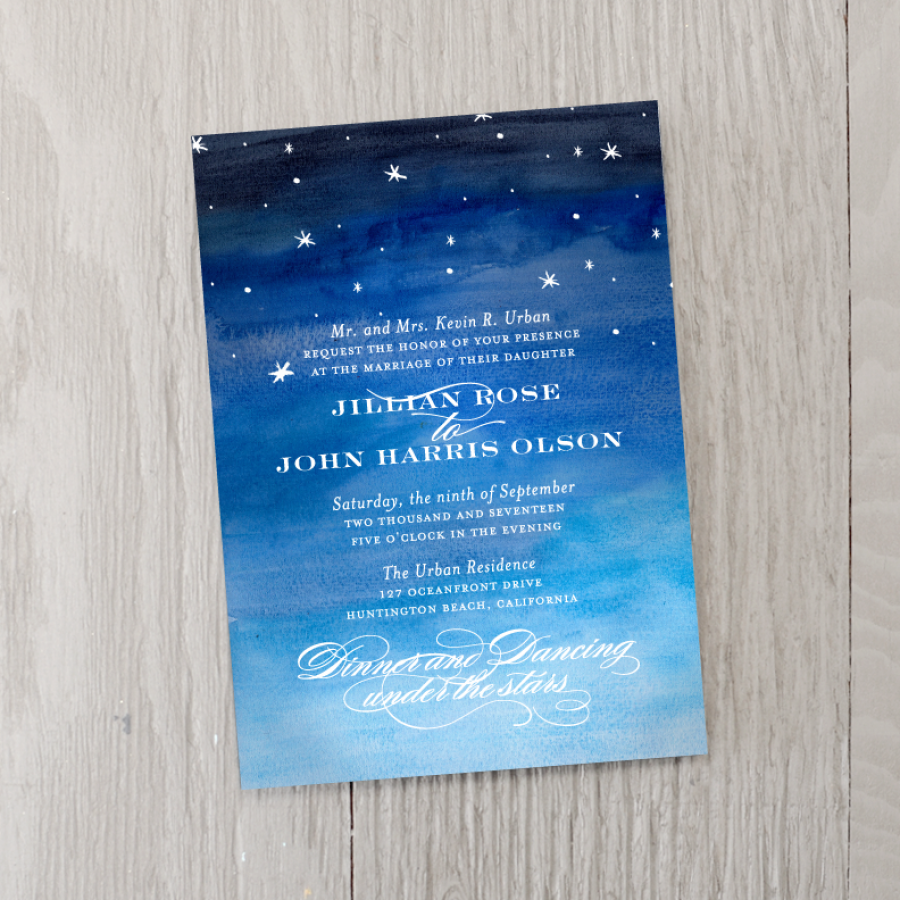 Starry Night Wedding Invitation Smitten On Paper Prom