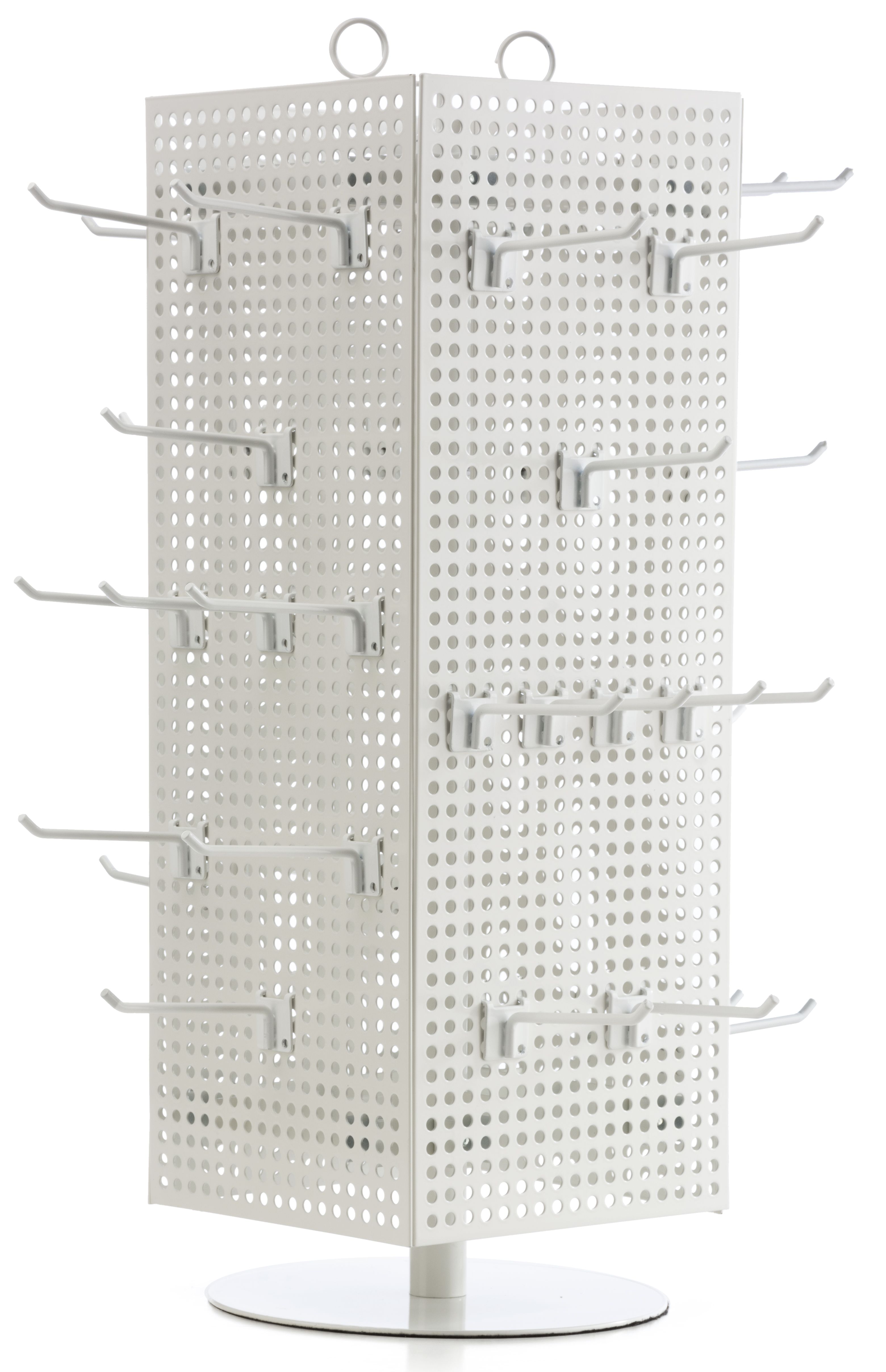 Counter Pegboard Spinner Rack Magnetic 60 Hooks White With