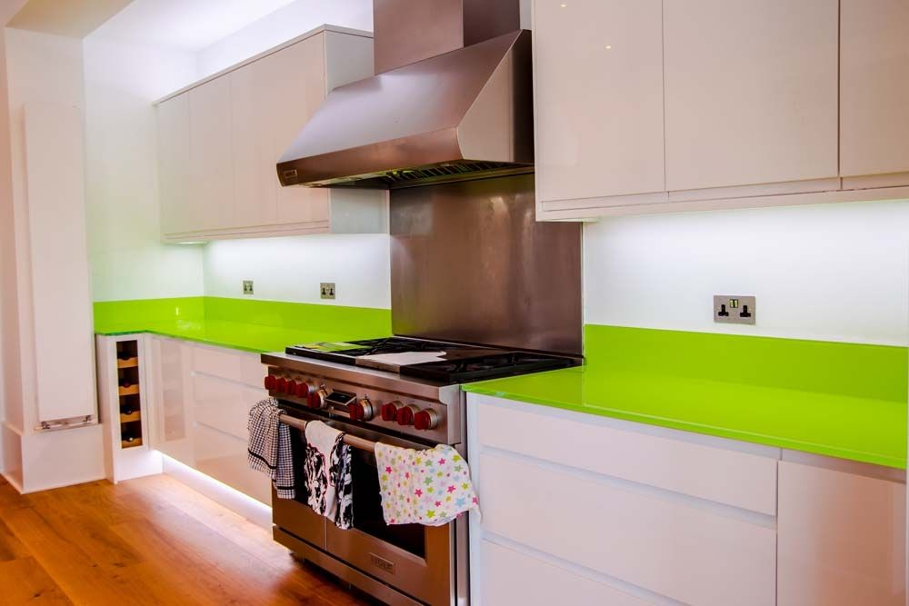 Lime Green Glass Worktop and Upstands by CreoGlass Design (London ...