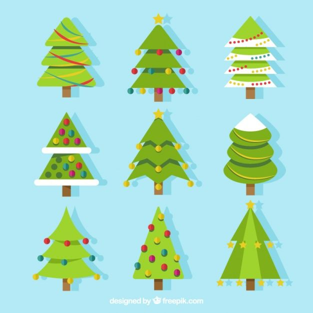 Collection Of Christmas Trees In Flat Design Christmas Tree Vector Free Design