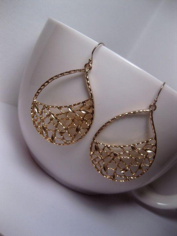 Photo of Netted Teardrop Earrings – Long Gold Earrings – Gold Earrings – Modern Earrings – Hoop – With 14k Gold
