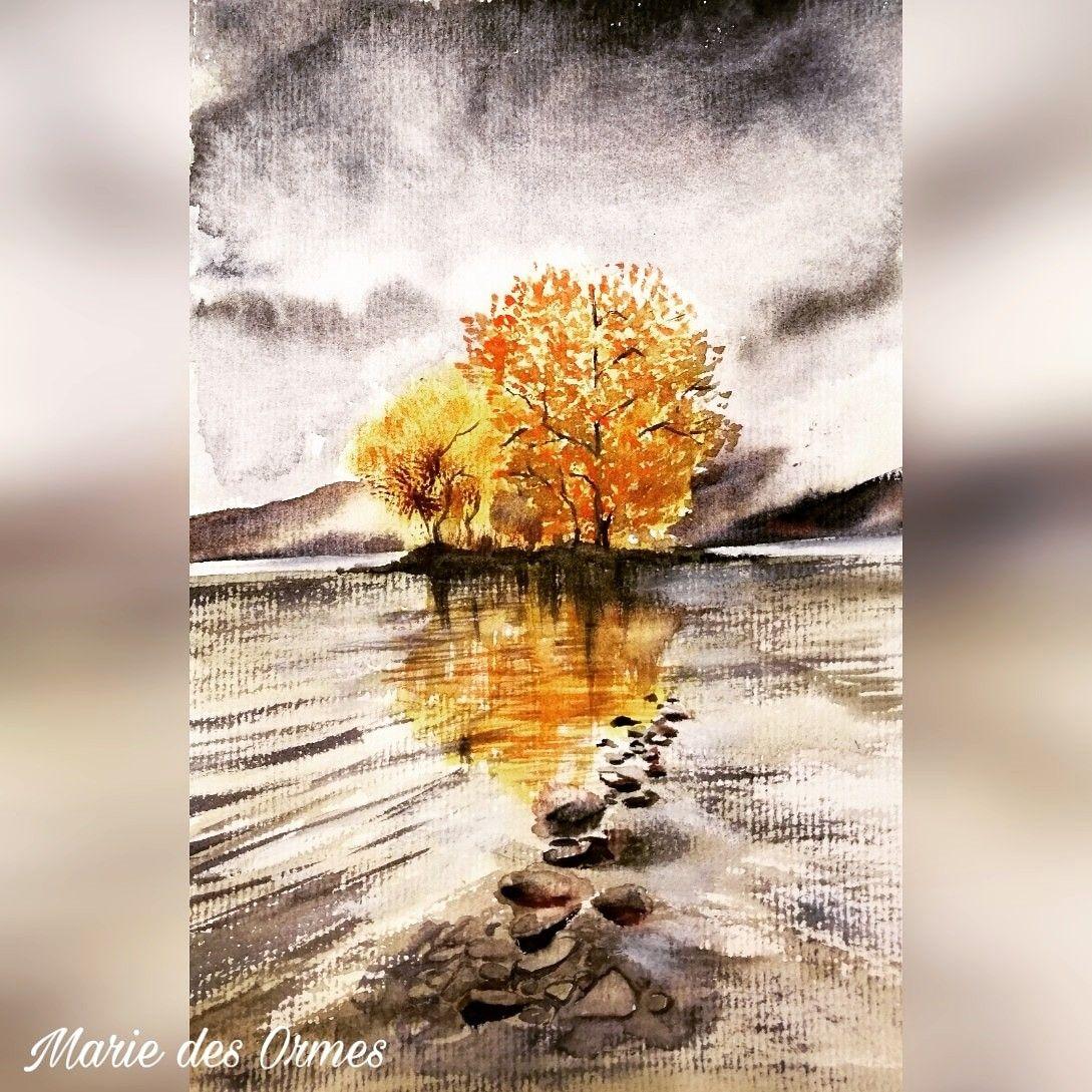 Nostalgique de l'#ecosse voici une vue du #lochlomond #thisisscotland #simplyscotland #ig_scotland #love_scotland #highlands #your_scotland #yourscotland #aquarelles #watercolor_art #landscapewatercolor #trossachs #lac #autumn #automne #watercolour #watercolour_art #aquarellepainting #aquarelleaddict #aquarellesketch #mpdesormiere #marie_des_ormes