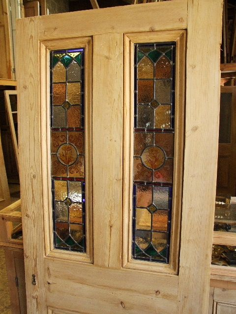 Antique stained glass front door With handpainted glass panels - Antique Stained Glass Front Door With Handpainted Glass Panels
