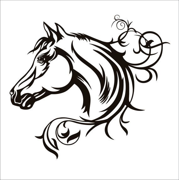 Horse Head Swirly File Download Svg Eps Dxf Png By Hornbackshouse Horse Silhouette Horse Tattoo Small Horse Tattoo