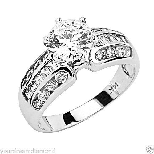 14K-white-Gold-Solitaire-2-ct-Man-made-Diamond-Engagement-Ring-size-7