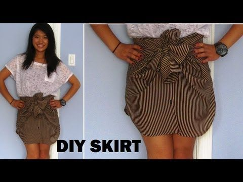 Diy Long Sleeve Shirts Into Skirts No Sewing Diy Skirt Diy Clothes Recycle Clothes