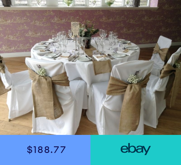 150 Packs Burlap 6x108 Chair Cover Sashes Bows Natural Jute Wedding Eve Chair Covers Wedding Reception Chair Covers Wedding Wedding Chair Decorations