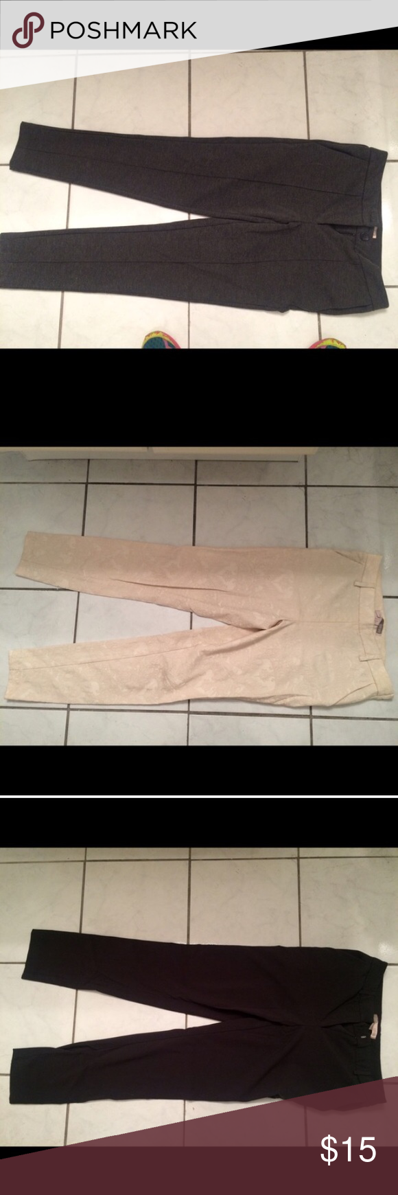 Three pairs of slacks and one pair of jeans Three slacks: white lace, grey, black, all straight leg. All size XS from Charlotte Russe. Jeans: size 2 from old Navy, skinny jeans. The whole bundle is yours! All offers considered! Charlotte Russe Pants Straight Leg