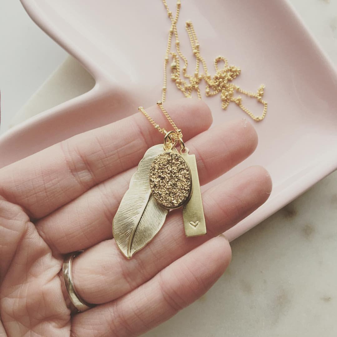 Personalized druzy feather necklace lemon sweet love pinterest