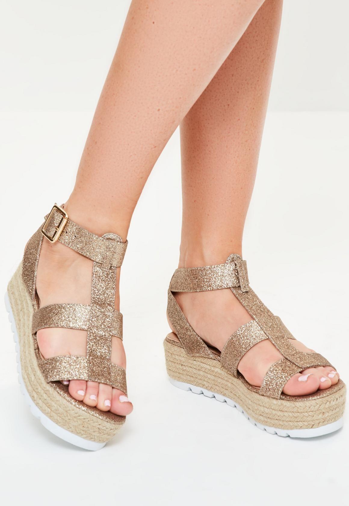 71339a3007a Missguided - Rose Gold Glitter Flatform Gladiator Sandals