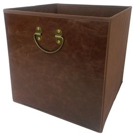 12 75 In W X 12 75 In H X 12 75 In D Dark Brown Faux Leather Bin Lowes Com Storage Bins Faux Leather Lowes Home Depot
