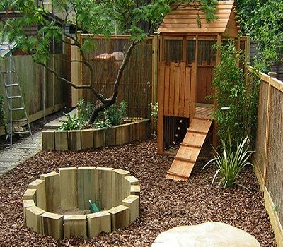 awesome design sunken sand pit constructed with new sleepers play house and mushroom table the whole area is mulched with a thick layer of play bark to - Garden Design Children S Play Area