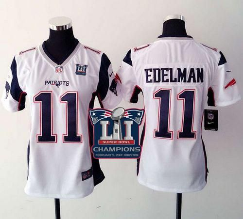 859c00eb0 Nike Patriots  11 Julian Edelman White Super Bowl LI Champions Women s  Stitched NFL New Elite