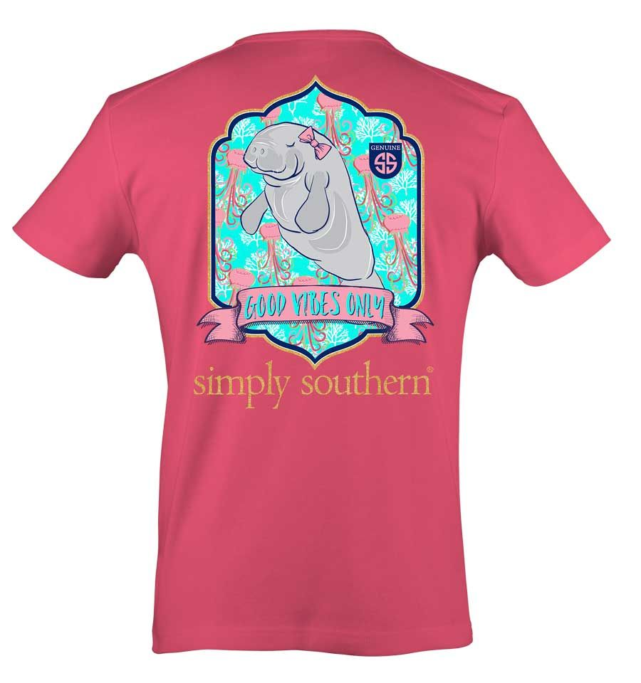 ab17db68f39a Simply Southern Preppy Collection Manatee T-shirt for Women in Strawberry