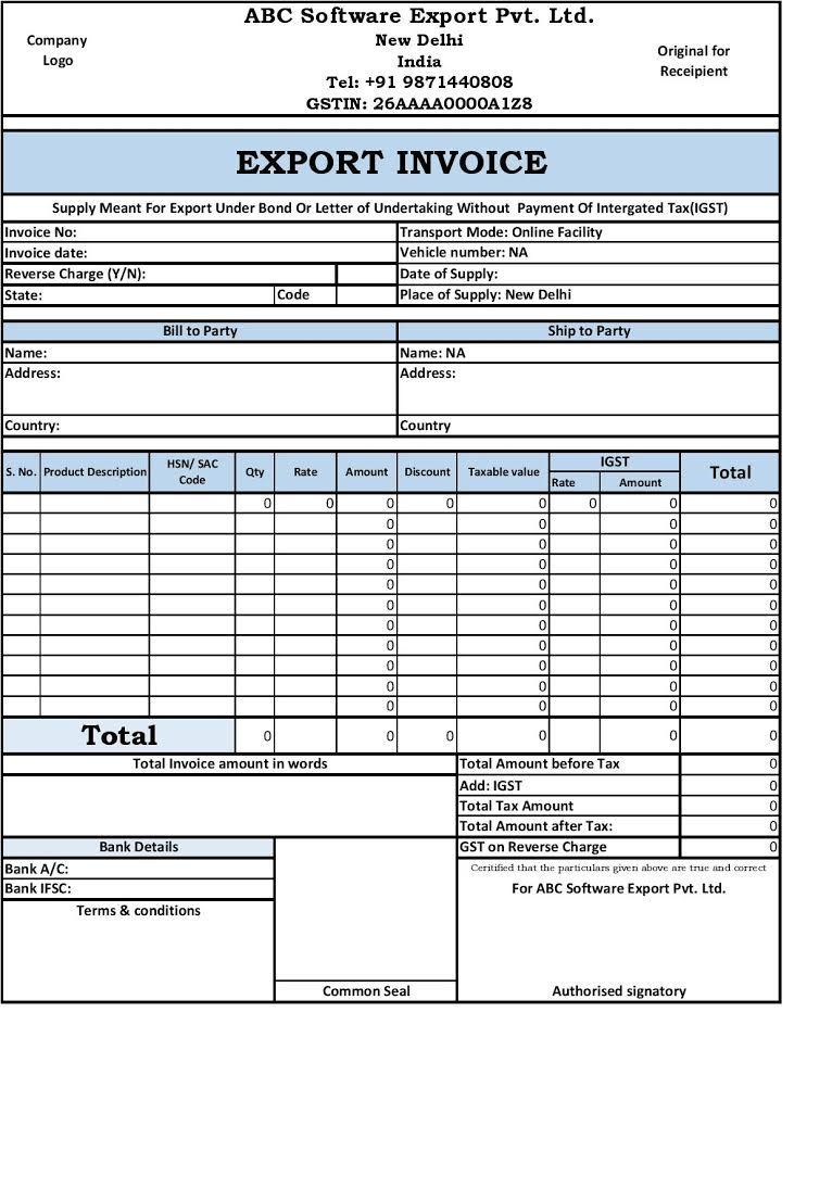 Export Invoice Gst Invoice Format Invoice Design Invoice