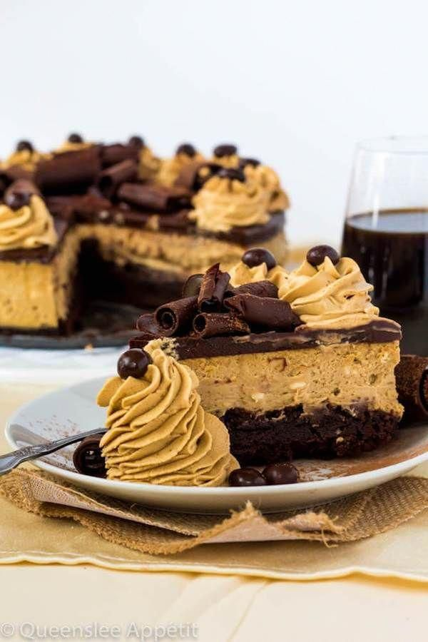 This Coffee Brownie Cheesecake consists of a creamy coffee cheesecake sitting on top of a dense brownie bottom, topped with a rich coffee chocolate ganache, chocolate curls, coffee whipped cream and chocolate covered coffee beans. #typesofcoffeebeans #chocolatecoveredcoffeebeans This Coffee Brownie Cheesecake consists of a creamy coffee cheesecake sitting on top of a dense brownie bottom, topped with a rich coffee chocolate ganache, chocolate curls, coffee whipped cream and chocolate covered cof #chocolatecoveredcoffeebeans