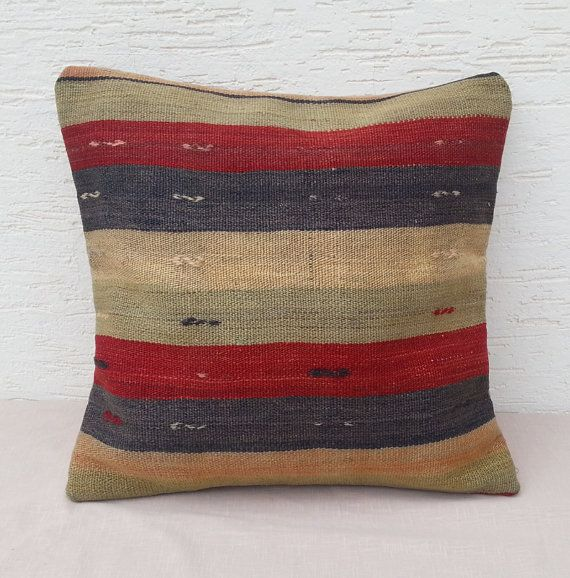 LARGE Vintage Home Decor Striped Multicolor Colorful Wool Turkish Kilim  Pillow Cover ,Tribal Pillow,Decorative Throw Pillows.Soft Pillow