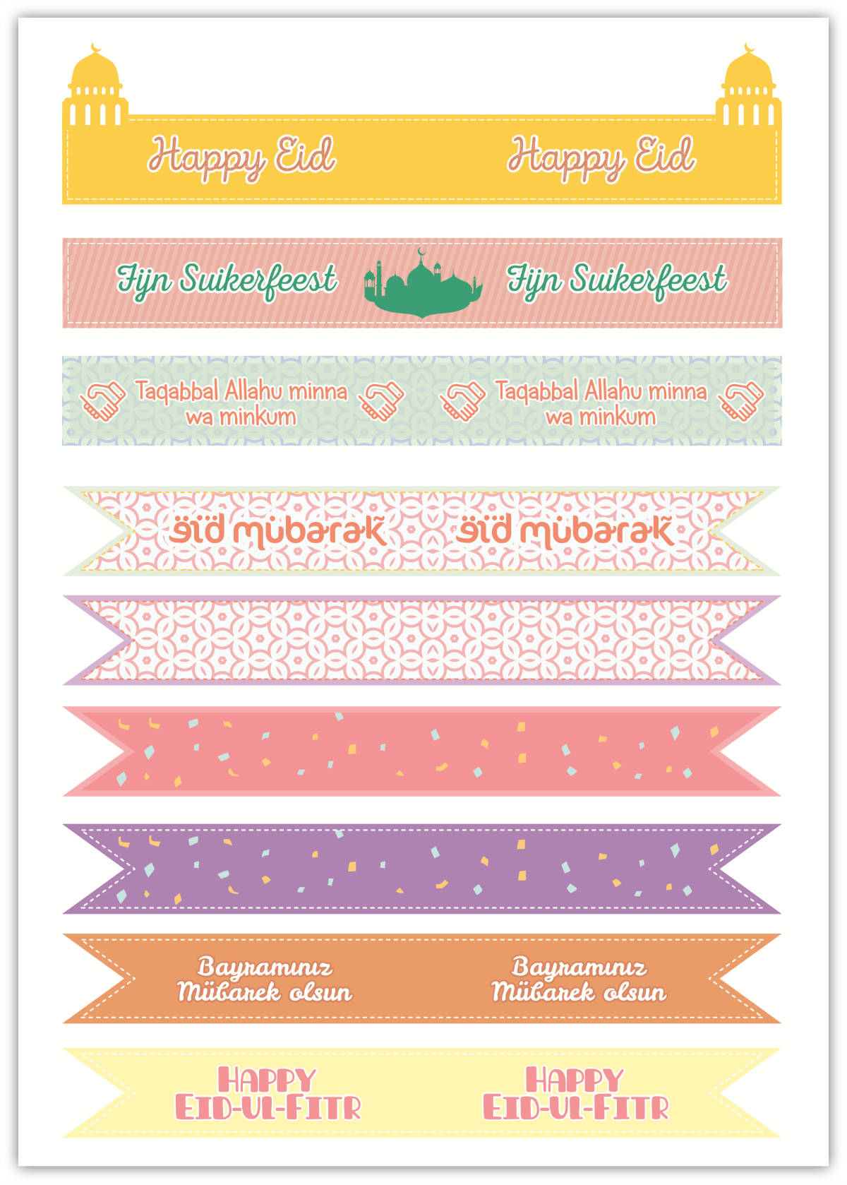 PRINTABLE | Eid Cupcake Toppers / Straw Flags ...