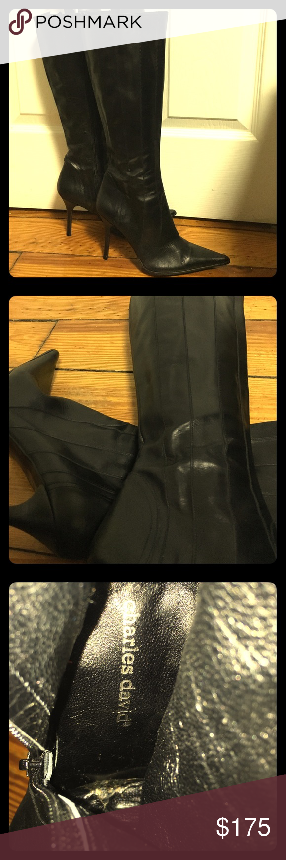 Charles David leather high heel boots -black Charles David leather high heel boots -black. These boots are in excellent condition. All leather, leather lining, 4 inch heel. Super fun detail design. New heels and new vibram soles. Please refer to pictures for more information. Charles David Shoes Heeled Boots