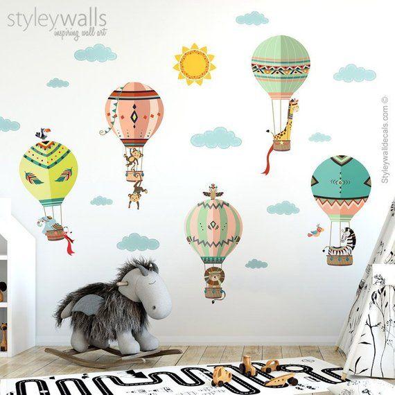 Tribal Wall Decal Hot Air Balloons Wall Decal Jungle Safari