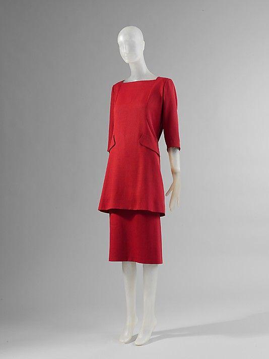 Ensemble.  House of Balenciaga (French, founded 1937).  Designer: Cristobal Balenciaga (Spanish, 1895–1972). Date: spring/summer 1955. Culture: French. Medium: rayon, silk, linen. Dimensions: Tunic (a) Length at CB: 32 1/2 in. (82.6 cm). Skirt (b) Length at CB: 29 1/2 in. (74.9 cm). Hat (c) Width (brim): 7 1/2 in. (19.1 cm).