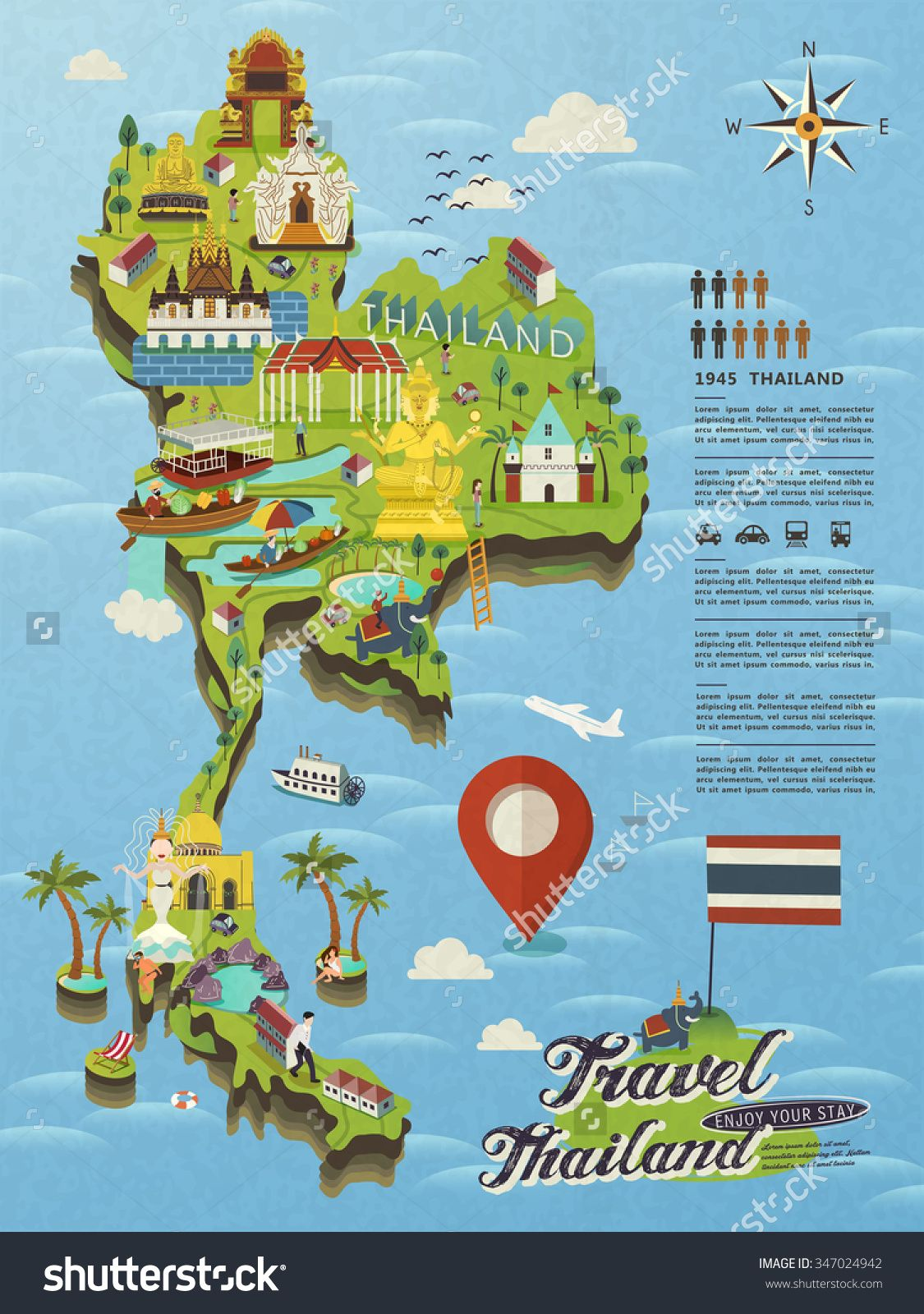 Attractive Thailand Travel Concept Map Flat Vector 347024942