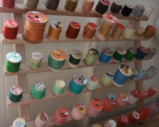 Embroidery Thread Display/Storage Idea  (decoupaged old spools)