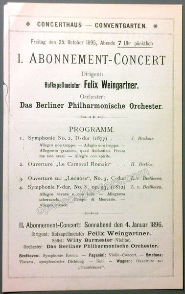 Weingartner Felix  Berlin Philharmonic Orchestra Concert Program
