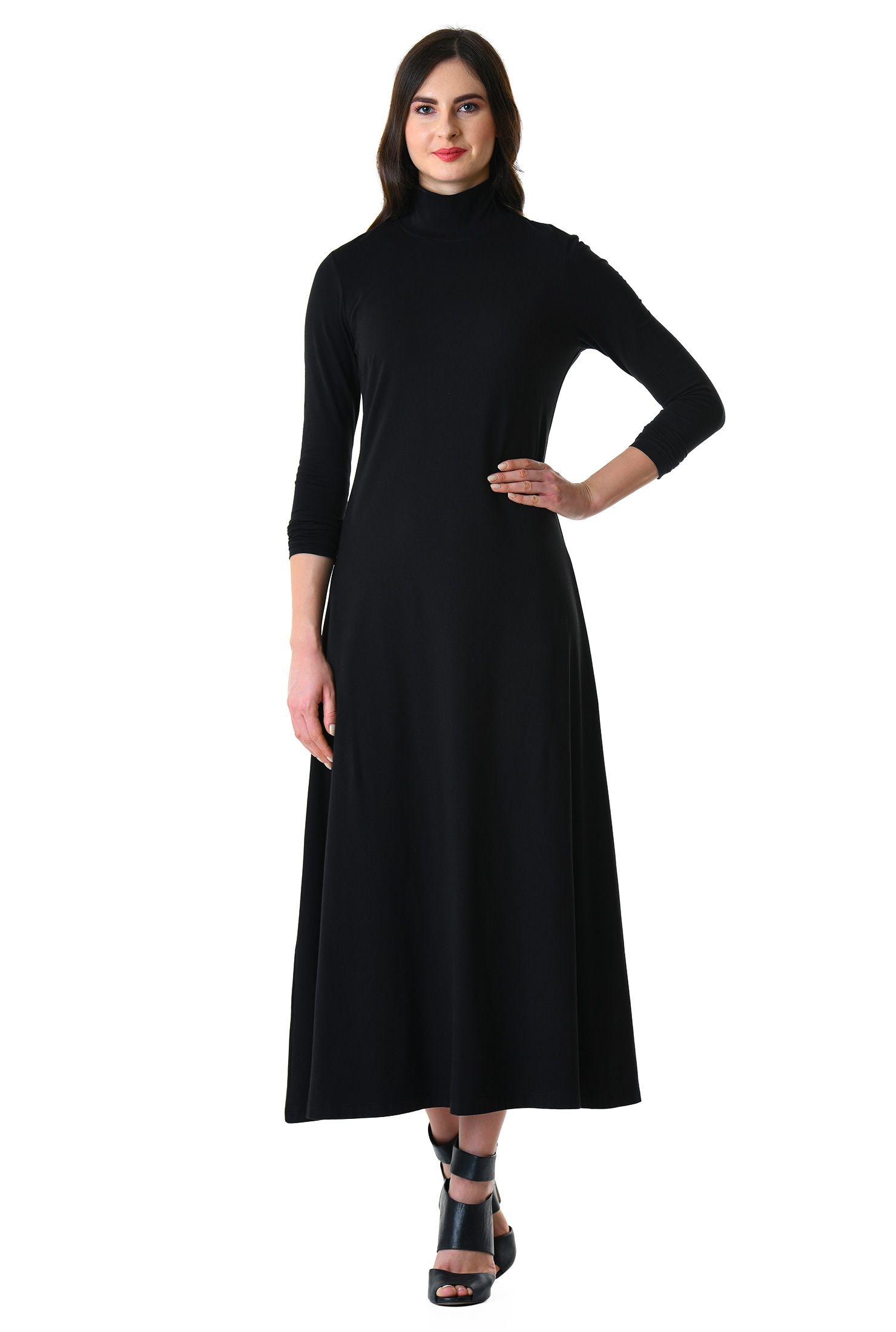 Turtleneck cotton knit midi dress