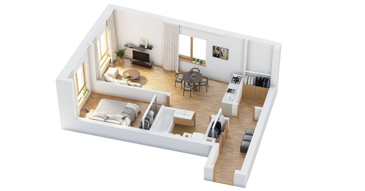 Small 1 Bedroom Apartment Floor Plans 2021
