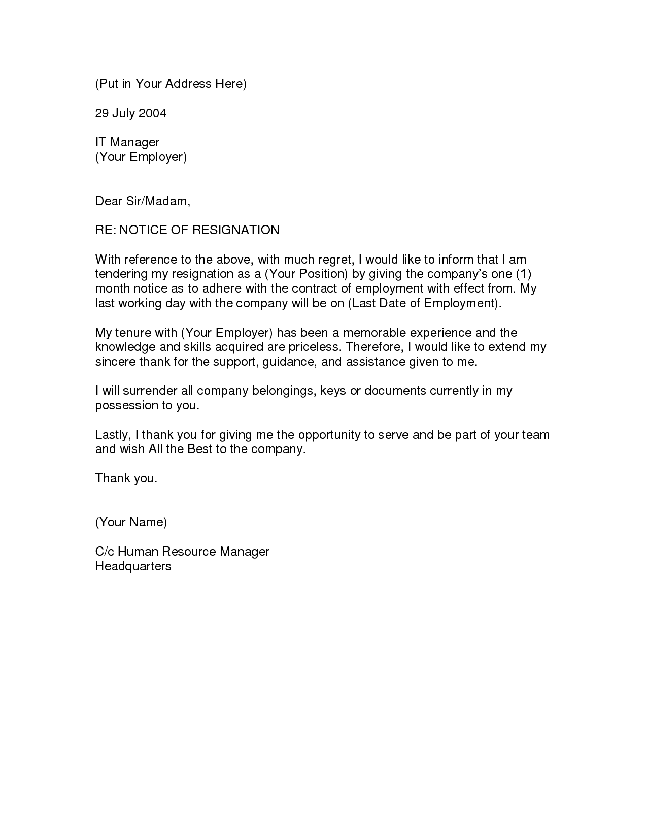 sample resignation letter one month notice