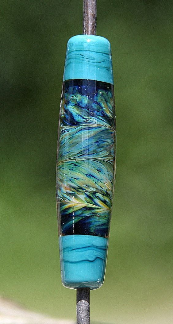 Feathered Blues Handmade Lampworked Glass Bead: