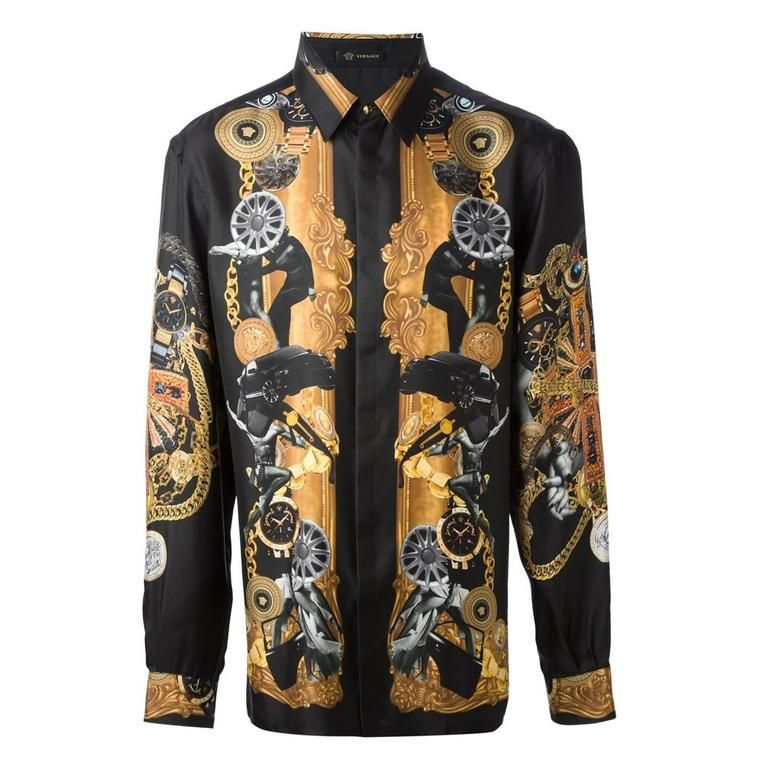 18f94f6df VERSACE 100% Silk black printed men's shirt | From a collection of rare  vintage shirts