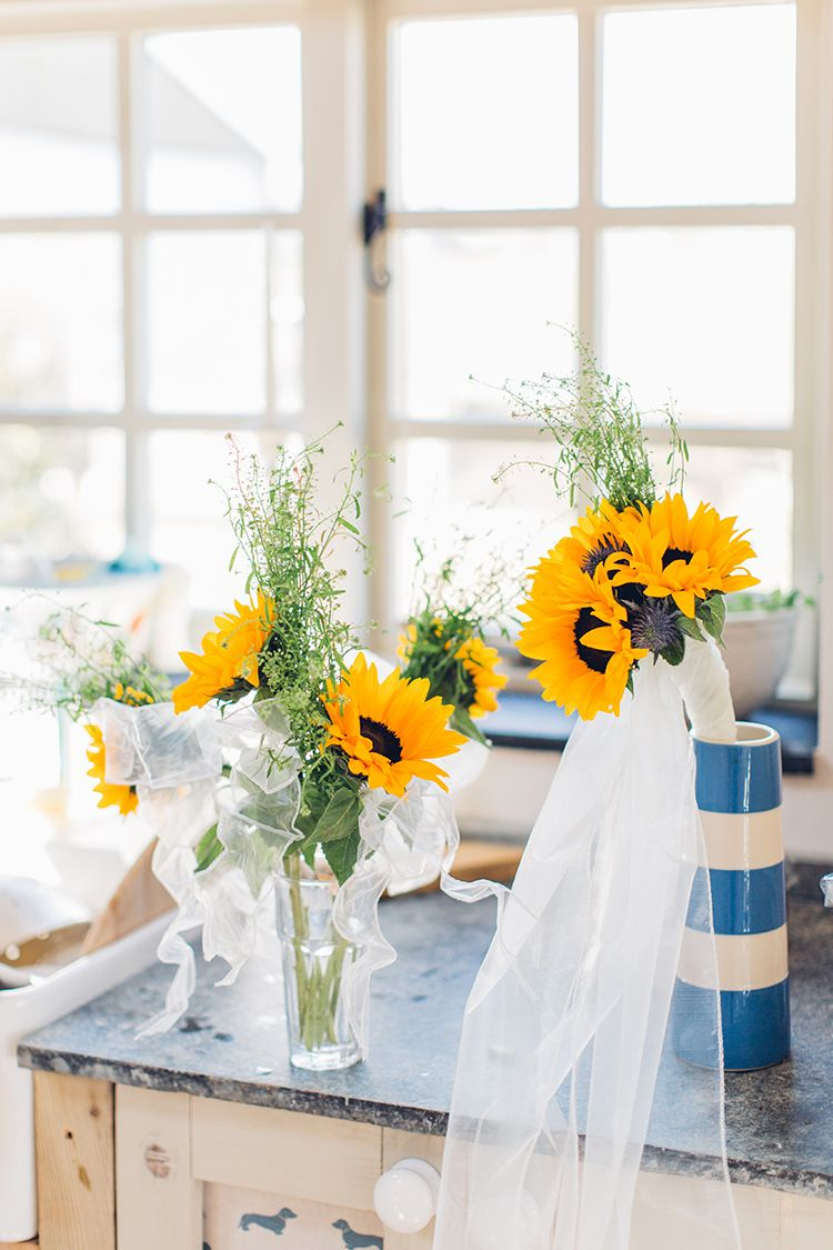 Chilled DIY Beach Front Cafe Yellow & Blue Wedding in
