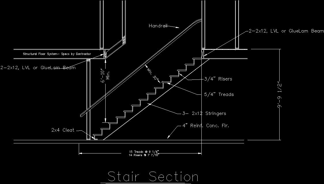 Stair Detail DWG Section for AutoCAD • Designs CAD | West Lake House