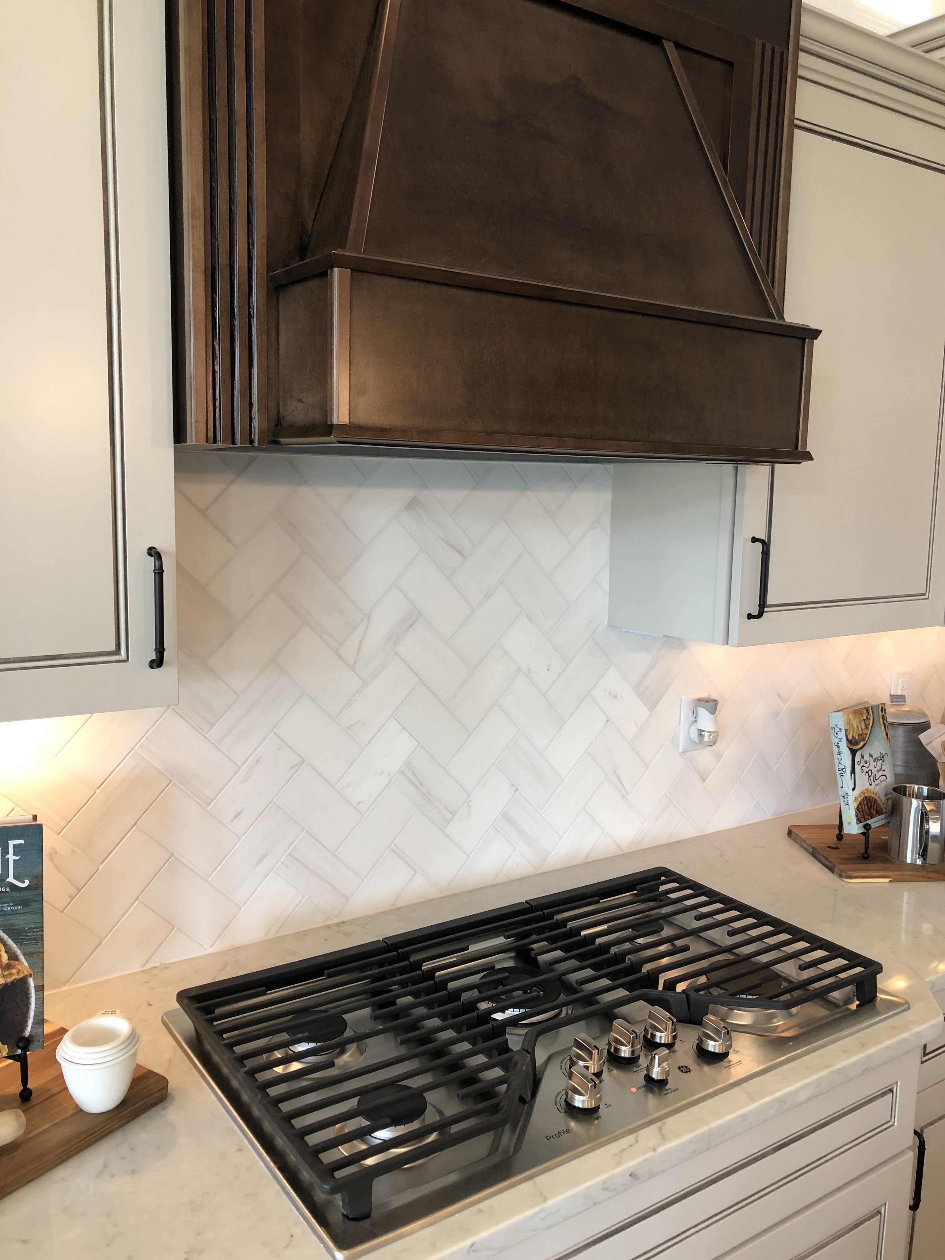 Contempo White Honed 3x6 Marble Backsplash Tiles Installed